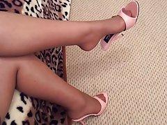 کفش با صورتی قاطرها اویزان جوراب زنانه ساقه بلند