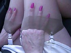 جوراب زنانه ساقه بلند بالا بازی در ماشین