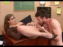 فاک معلم بالغ چاق جوان دانشجویی.